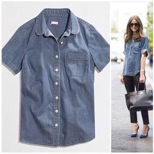 J Crew short sleeve chambray button down shirt